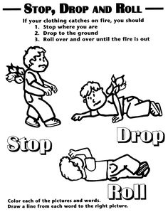 Fire safety coloring sheet showing stop drop and roll.