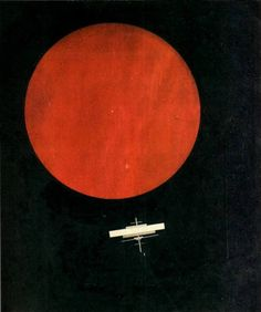 russianavantgarde:    Ilya Chashnik - Cosmos. Red Circle on Black Plane, 1925