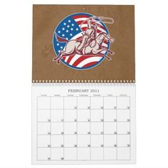 Rodeo Bull Riding Bucking Bronco 2011 calendar. Customizable 2017 calendar with retro style illustrations on the great American sport of rodeo featuring bull riding and bucking broncos and even running cowboys from the collection of original artworks by Patrimonio Designs. #calendar #rodeo #bullriding