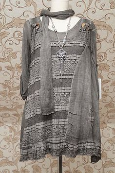 Gorgeous 2piece Layered Lagenlook Boho Dress Tunic OSFA Really Quirky with Scarf | eBay
