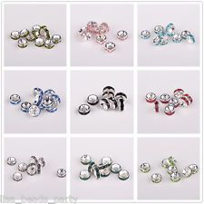 20/50pcs 6mm Silver Plated Crystal Rhinestone Rondelle Jewelry Findings Crafts