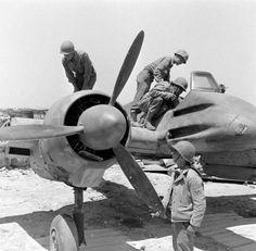 US soldiers inspect a Henschel Hs129