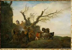 Philips Wouwermans or Wouwerman - Robbery of Travellers /Wouwerman/ c.1650
