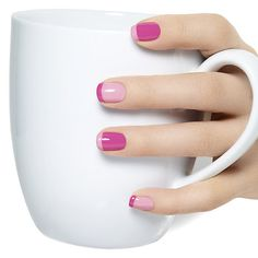 french pressed by essie - playful, fun and surprisingly smart. this nail art look mixes up two contrasting pinks for a witty twist on the classic french manicure.