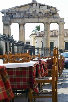 Cafe with plaid tables in Roman Agora, Athens- pretty sure I ate at this exact cafe, good going Frommers.