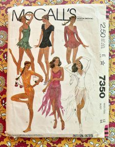 Vintage 1980s Womens Bodysuits and Dance Costumes Pattern - McCalls 7350 by Fragolina on Etsy