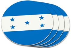 """Amazon.com: Custom & Cool {4"""" Inches} Set Pack Of 4 Round Circle """"Grip Texture"""" Drink Cup Coasters Made of Plastic w/ Cork Bottom w/ Honduras National Country Travel Design [Colorful Blue & White]: Home & Kitchen"""