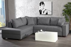 Design Ecksofa APARTMENT Strukturstoff anthrazit Federkern Sofa Schlaffunktion