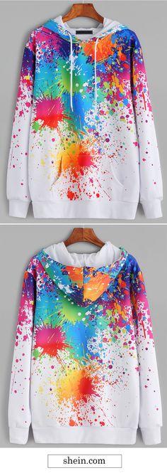 White paint splatter print hooded sweatshirt.