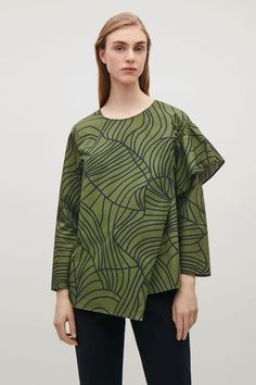 COS image 2 of Top with gathered shoulder detail in Khaki Green