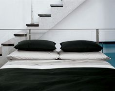 Awesome Designer Bedding by Calvin Klein: Modern Bedroom Design Ideas with White Black and White Bed Pillow Blanket