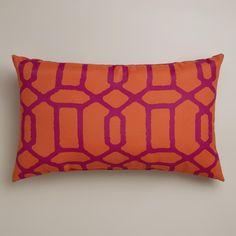 Orange and Fuchsia Gate Wide Outdoor Lumbar Pillow | World Market