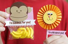 school valentines...without the monkey...maybe a pic of the child giving the treat