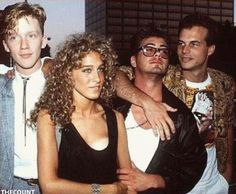 "Hollywood late 80s: Anthony Michael Hall, Sarah Jessica Parker, Robert Downey Jr. and Bill Paxton  ""Anybody got a mirror?"""