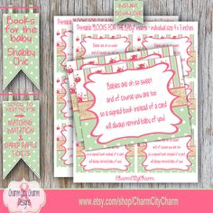 Bring a Book Instead of a Card, Shabby Chic Shower, Bring A Book Insert Cards, Bring a Book Cards, Baby Girl Shower, INSTANT DOWNLOAD by charmcitycharm on Etsy