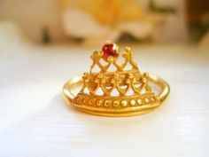 Garnet Princess Crown Ring Antique Gold Tiara Ring Lace Ring January Birthstone - made to order in your finger size