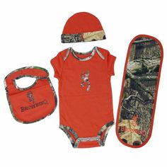Browning 4 Piece Baby Camo Layette Set Texas Orange - Back40Trading2
