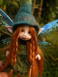 sweet redhaired posable ooak fairy fairie elf tiny 5 inches removable wings…