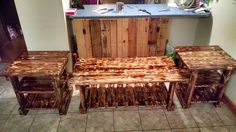 Scorched Pallet Living Room Table Set - 130+ Inspired Wood Pallet Projects | 101 Pallet Ideas - Part 4