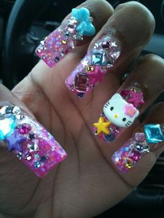 Xoma Salon & Spa, Short Hills, NJ         Hello Kitty glitter nails