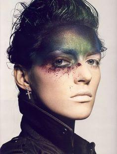 Iridescent editorial makeup