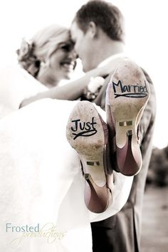 Just married photo and for keepsake shoes..want to do something fun with feet for a family photo :)