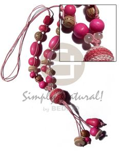 Wood Beads And Tassled Wrapped Wood Beads / Pastel And Bright Pink Tones / Plus Tassles Wood Necklace Wooden Necklace, Wooden Jewelry, Stone Necklace, Stone Jewelry, Beaded Necklace, Moda Natural, Collar Tribal, Summer Necklace, Wood Stone