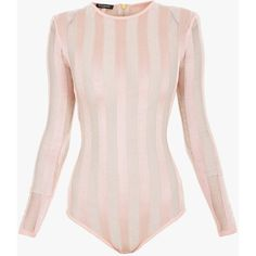 Stretch-knit striped bodysuit | Women's knit tops | Balmain ($1,530) ❤ liked on Polyvore featuring intimates and shapewear