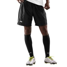 """Mens UA Versa 7.75 Soccer Shorts Bottoms by Under Armour Medium Black by Under Armour. $24.99. Simple, sleek design styled for incorporation with UA game day uniforms. Signature Moisture Transport System wicks sweat away from the body, keeping you cooler and drier. Internal drawcord waistband delivers a custom, comfortable fit. 7.75"""" inseam. Polyester. Imported."""