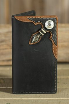 Stockyards Rawhide Leather Checkbook Wallet Style #73426