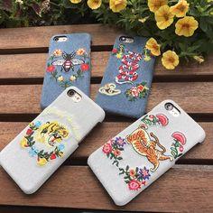 Gucci欧米ハイブランドグッチ個性的DIY刺繍国際おしゃれデニム布ジーンズiphone8/7s