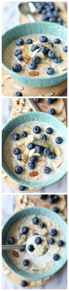 Blueberry Breakfast Quinoa (protein-packed breakfast) INGREDIENTS 2 cups 2% milk 1/2 teaspoon cinnamon 1 vanilla bean, seeded 2 cups cooked quinoa 1 cup blueberries 1/4 cup sliced almonds 1 tablespoon honey INSTRUCTIONS In a large glass measuring cup, whisk together milk, cinnamon and vanilla bean seeds. Scoop the quinoa evenly into serving bowls. Serve immediately with milk mixture, topped with blueberries, almonds and a drizzle of honey.