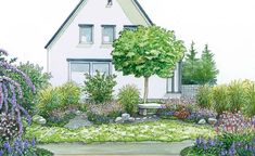 Obwohl dieser Vorgarten nicht gerade klein ist, ist die Gestaltung dank großer Schotterflächen und der Verwendung weniger Pflanzen eine pflegeleichte Lösung