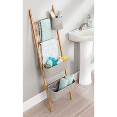 Amazon.com: InterDesign Formbu Wren Free Standing Bathroom Storage Ladder with Bins for Towels, Beauty Products, Lotion, Soap, Toilet Paper, Accessories - Natural/Gray: Home & Kitchen