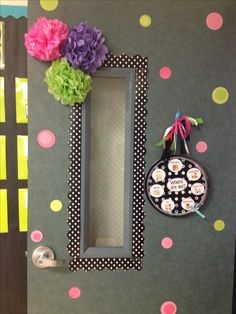 "Where are we sign, polka dot theme, door decor ""mrs.decatur's little gators"" keepcalmfloaton.blogspot.com"