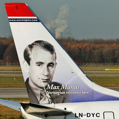 Max Manus, Norwegian resistance hero, on a Norwegian airline plane art Norwegian Airlines, Nike Inspiration, Air Max 2009, Airline Cabin Crew, Nike Headbands, Air Max Day, Nike Design, Aircraft Painting, Airplane Art