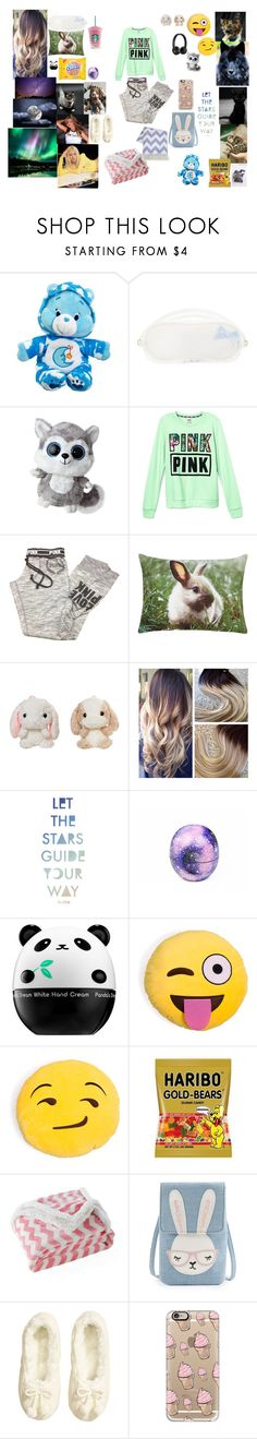 """""""11)eagle hall sleepover"""" by sunshinekg ❤ liked on Polyvore featuring L'Agent By Agent Provocateur, Beats by Dr. Dre, Victoria's Secret, Cotton Candy, Billabong, Eos, Tony Moly, Lala + Bash, Britney Spears and H&M"""