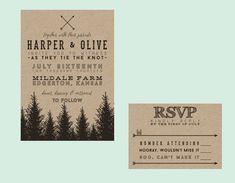 Rustic Tree Typography Wedding Invitation // DIY by blacklabstudio, $207.50