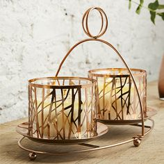 Copper Mix & Mingle Double Jar Display Stand
