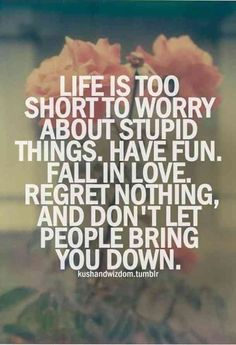 """""""Life is too short to worry about stupid things. Have fun. Fall in love. Regret nothing, and don't let people bring you down."""" #quotes #lifequotes #happyquotes #happinessquotes #happy #happiness #positivequotes"""