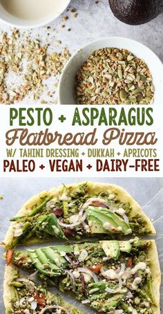 Pesto and Asparagus Flatbread Pizza with Tahini Dressing - Paleo, Vegan, Gluten Free, Grain Free, Dairy Free [low allergen and anti-inflammatory recipes from rally pure] nut free, soy free, top 8 free Paleo Dinner, Healthy Dinner Recipes, Breakfast Recipes, Dairy Free Recipes, Whole Food Recipes, Vegetarian Recipes, Flatbread Pizza, Vegan Pizza Recipe, Paleo Vegan