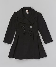 Another great find on #zulily! Charcoal Pleated Pea Coat - Girls by Just Kids #zulilyfinds