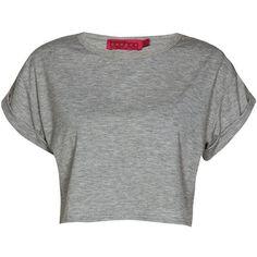 Boohoo Basics Sarah Crop Roll Back Sleeve Tee ($14) ❤ liked on Polyvore featuring tops, t-shirts, shirts, long sleeve shirts, crew t shirts, long-sleeve crop tops, jersey t shirt and long-sleeve shirt