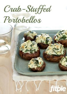 I love crab cakes. And I love stuffed mushrooms. But I don't love canned crab. I live in the Pacific Northwest. It's the fresh stuff for our house! Wheat Belly Recipes, Wheat Free Recipes, Antipasto, Goat Cheese Stuffed Mushrooms, Portabello Mushrooms, Tapas, Healthy Snacks, Healthy Recipes, Diabetic Snacks