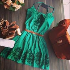 Green Floral Print Condole Belt Elegant Mini Dress