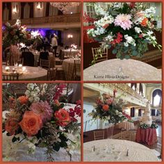 Corals , Ivory & Blush tones in the centerpiece designs at The Omni William Penn