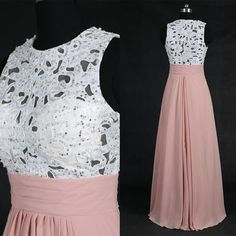 Elegant pink long prom dress with white lace pearls