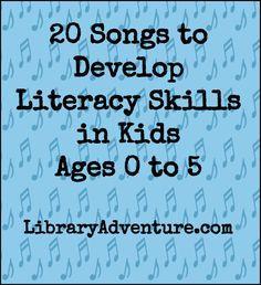 Literacy Development 20 Songs to Develop Literacy Skills in Kids Ages 0 to 5 Preschool Music, Preschool Literacy, Literacy Skills, Early Literacy, Literacy Activities, Preschool Assessment, Preschool Themes, Class Activities, Kindergarten Classroom