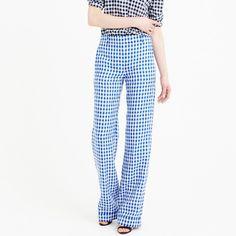 Petite linen pant in gingham : Women pants | J.Crew