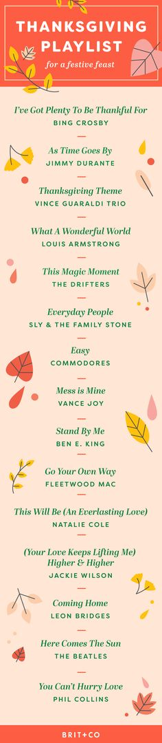 Bookmark this infographic to make your own perfect Thanksgiving or Friendsgiving music playlist for your festive feast.